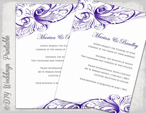Wedding Invitation Templates Word Beautiful Wedding Invitation Template Eggplant Diy Wedding Invitations