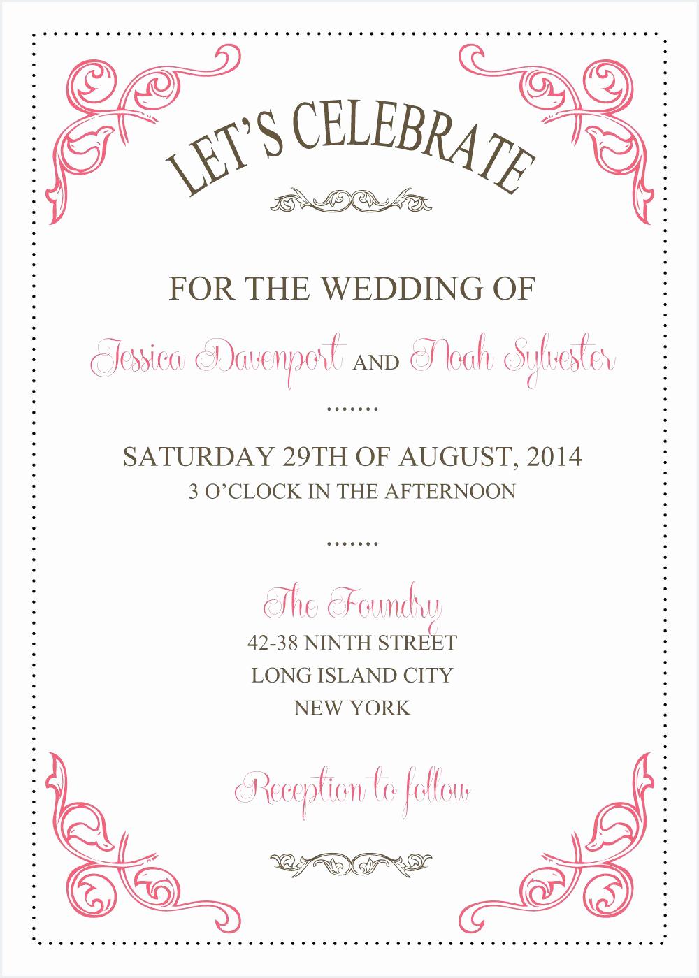 Wedding Invitation Templates Word Beautiful Wedding Invitations Template Wedding Invitations