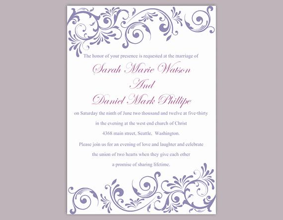 Wedding Invitation Templates Word Elegant Diy Wedding Invitation Template Editable Text Word File