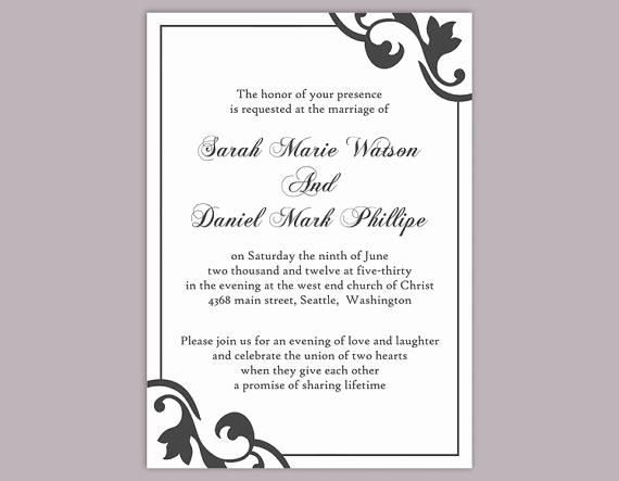 Wedding Invitation Templates Word Lovely Diy Wedding Invitation Template Editable Text Word File