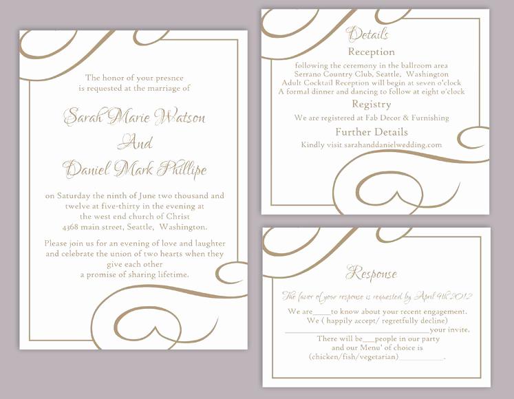Wedding Invitation Templates Word Luxury Diy Wedding Invitation Template Set Editable Word File