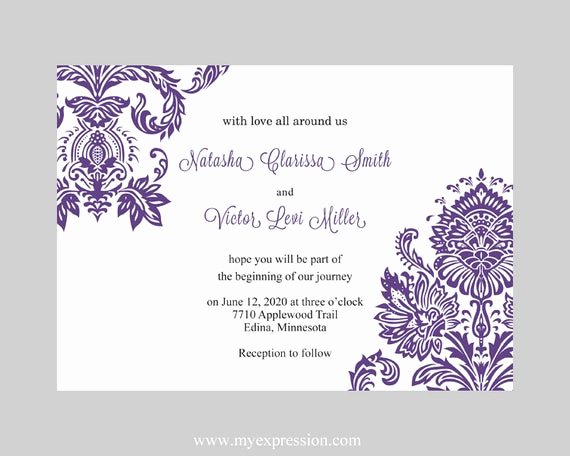Wedding Invitation Templates Word Luxury Wedding Invitation Template Purple Damask Instant Download