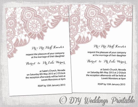 "Wedding Invitation Templates Word New Wedding Invitation Template ""antique Lace"" Diy Wedding"