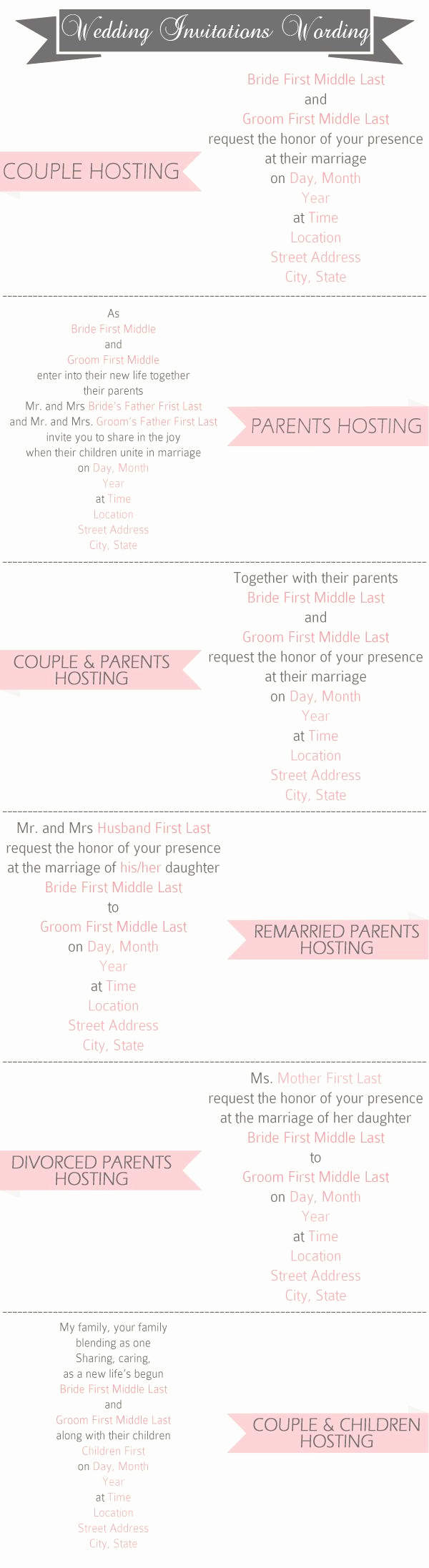 Wedding Invitation Wording Couple Hosting New Wedding Invitation Wording Samples to Invite Guests
