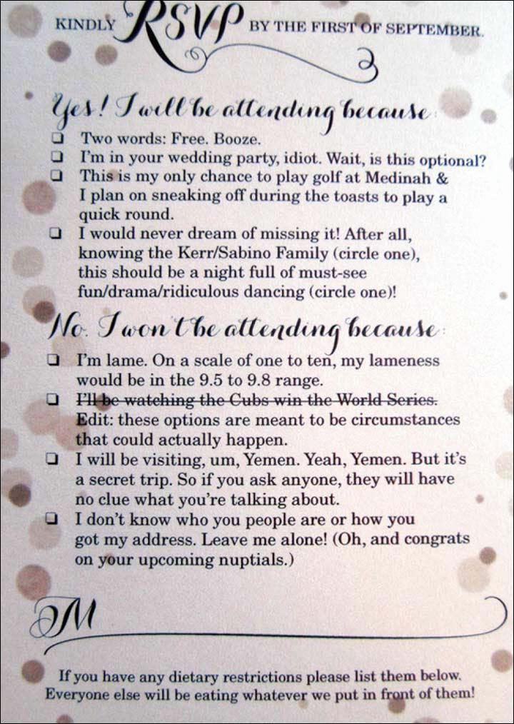 Wedding Invitation Wording Funny Best Of Funny Wedding Invitation Ideas 17 Invites that Ll Leave