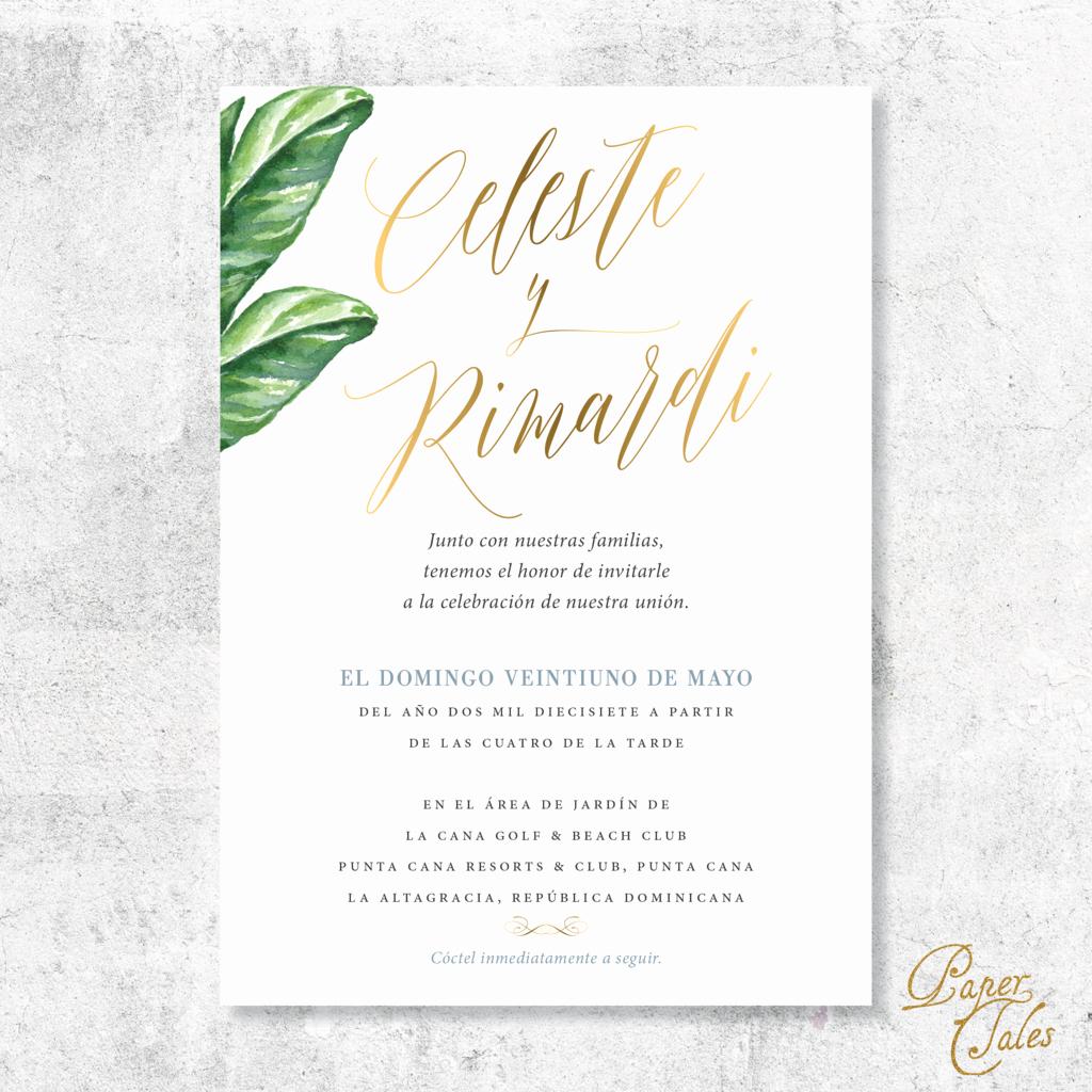 Wedding Invitation Wording In Spanish Awesome Spanish Palm and Pineapple Dusty Blue Wedding Invitation