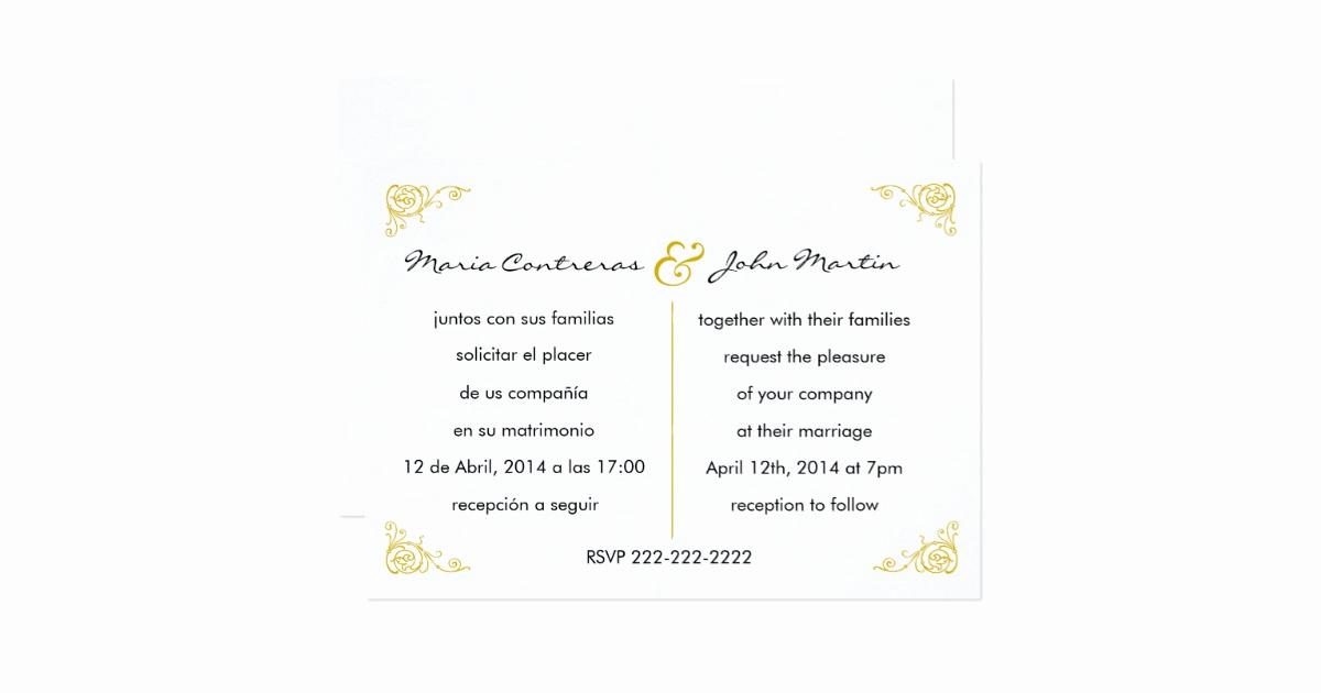 Wedding Invitation Wording In Spanish Inspirational Bilingual English Spanish Wedding Invitation