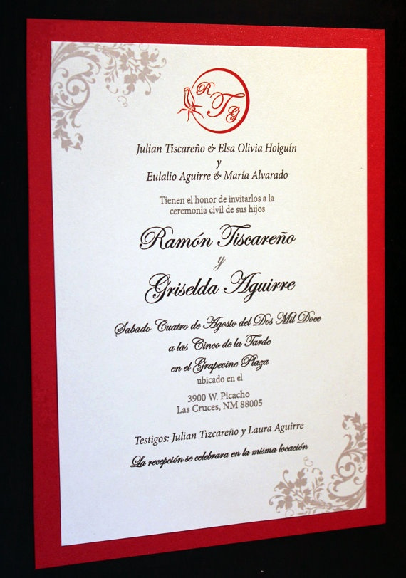 Wedding Invitation Wording In Spanish Inspirational the Radiant Red Invitation Spanish by thefunkyolive On