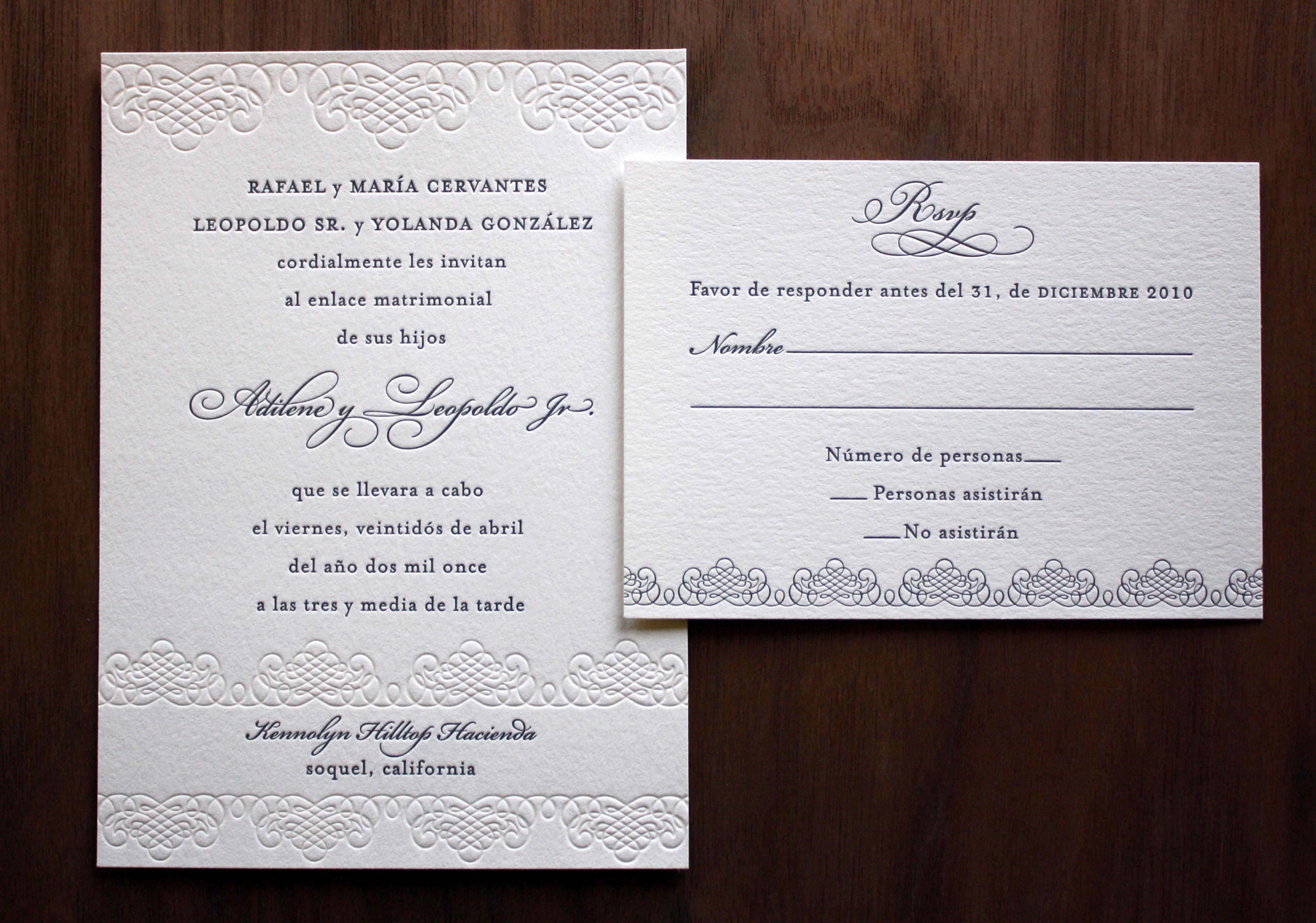 Wedding Invitation Wording In Spanish Lovely Blind Printing