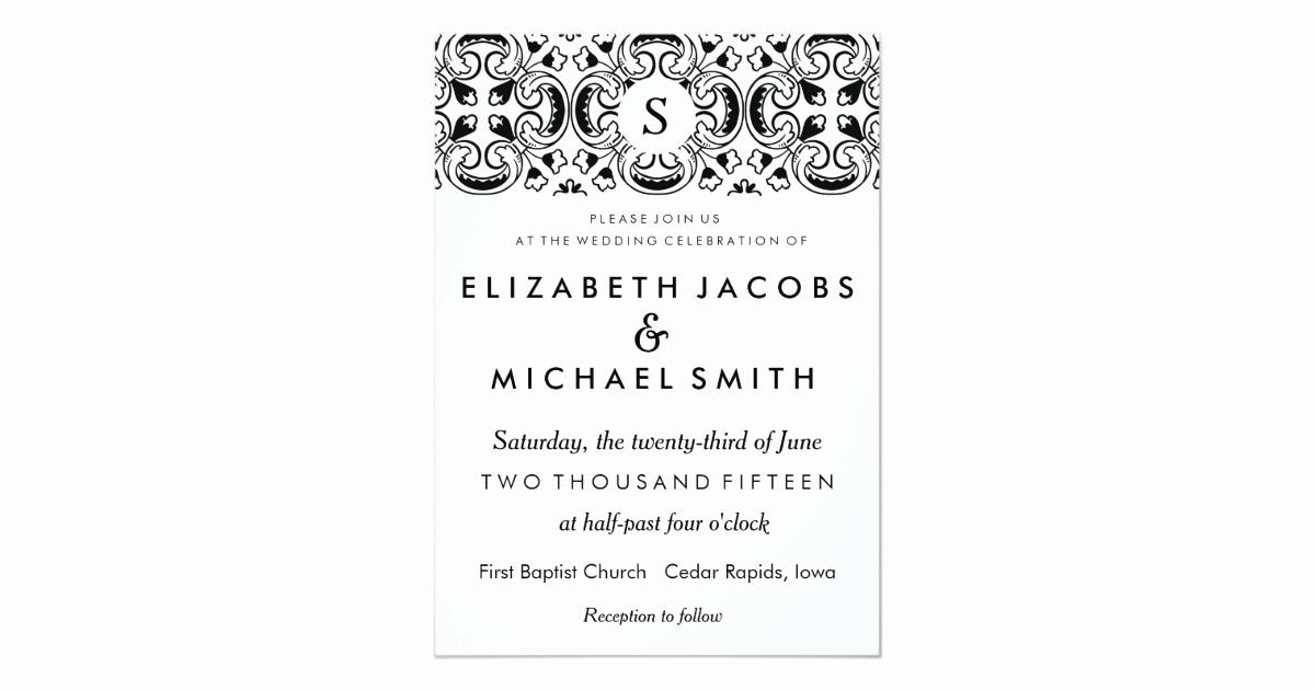 Wedding Invitation Wording In Spanish Luxury Black & White Spanish Tile Wedding Invitation