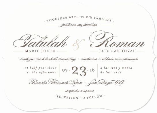 "Wedding Invitation Wording In Spanish Luxury ""love Language"" Customizable Wedding Invitations In Gray"