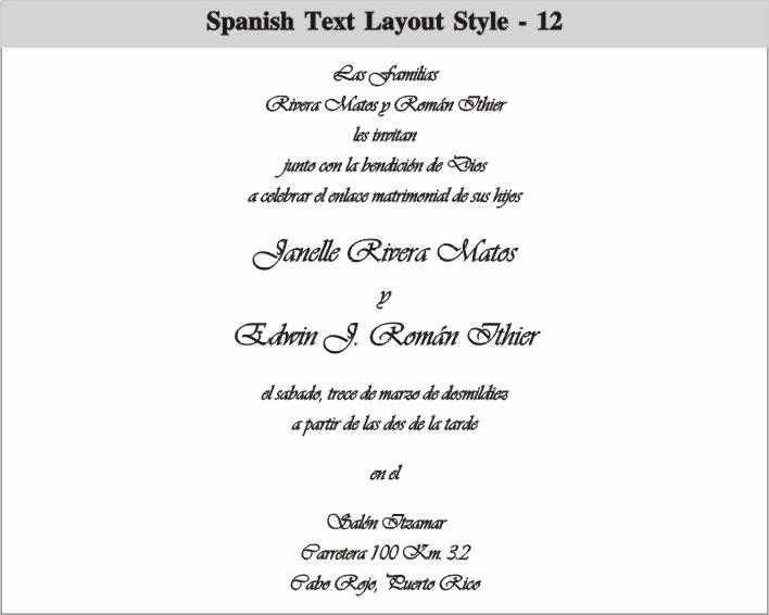 Wedding Invitation Wording In Spanish Unique Spanish Text Layout 12 708×566