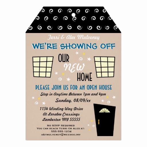 Wedding Open House Invitation Unique Whimsical Tag Cut Open House Invitation