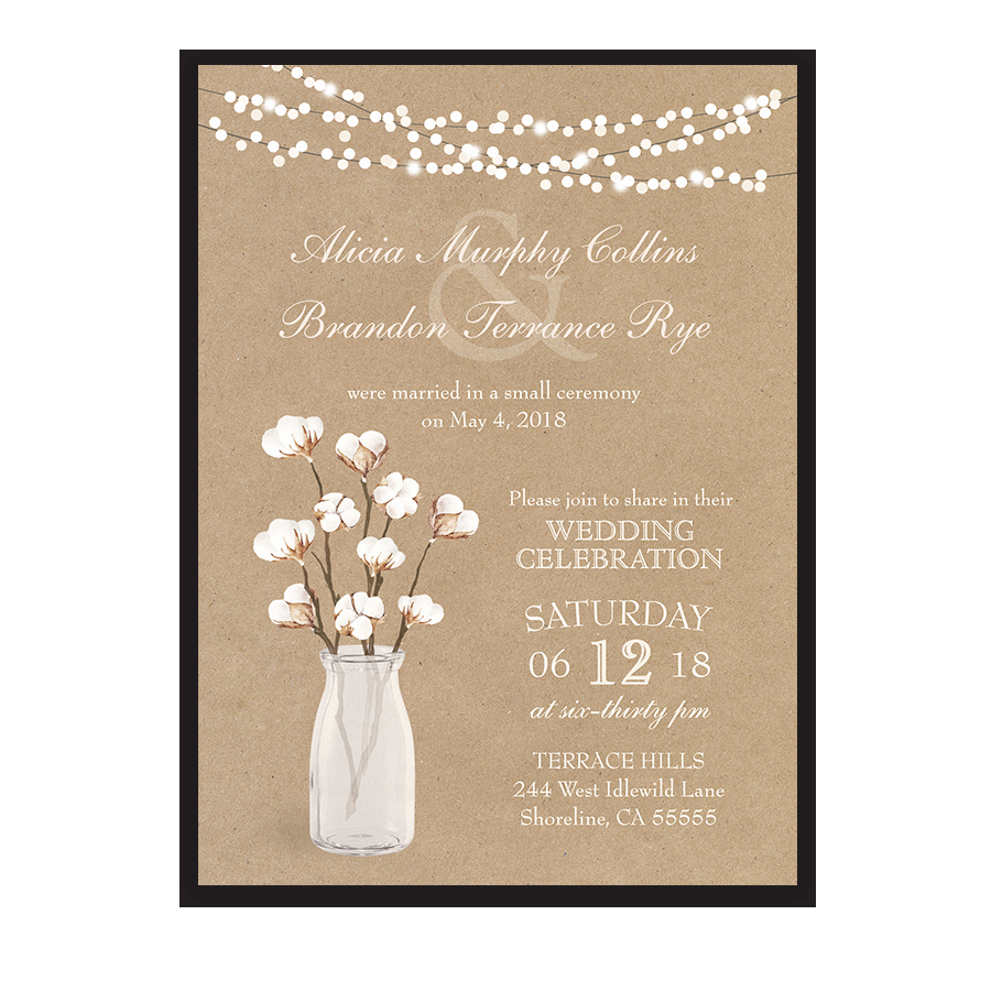 Wedding Reception Invitation Ideas Elegant Rustic Cotton theme Wedding Reception Ly Invitation