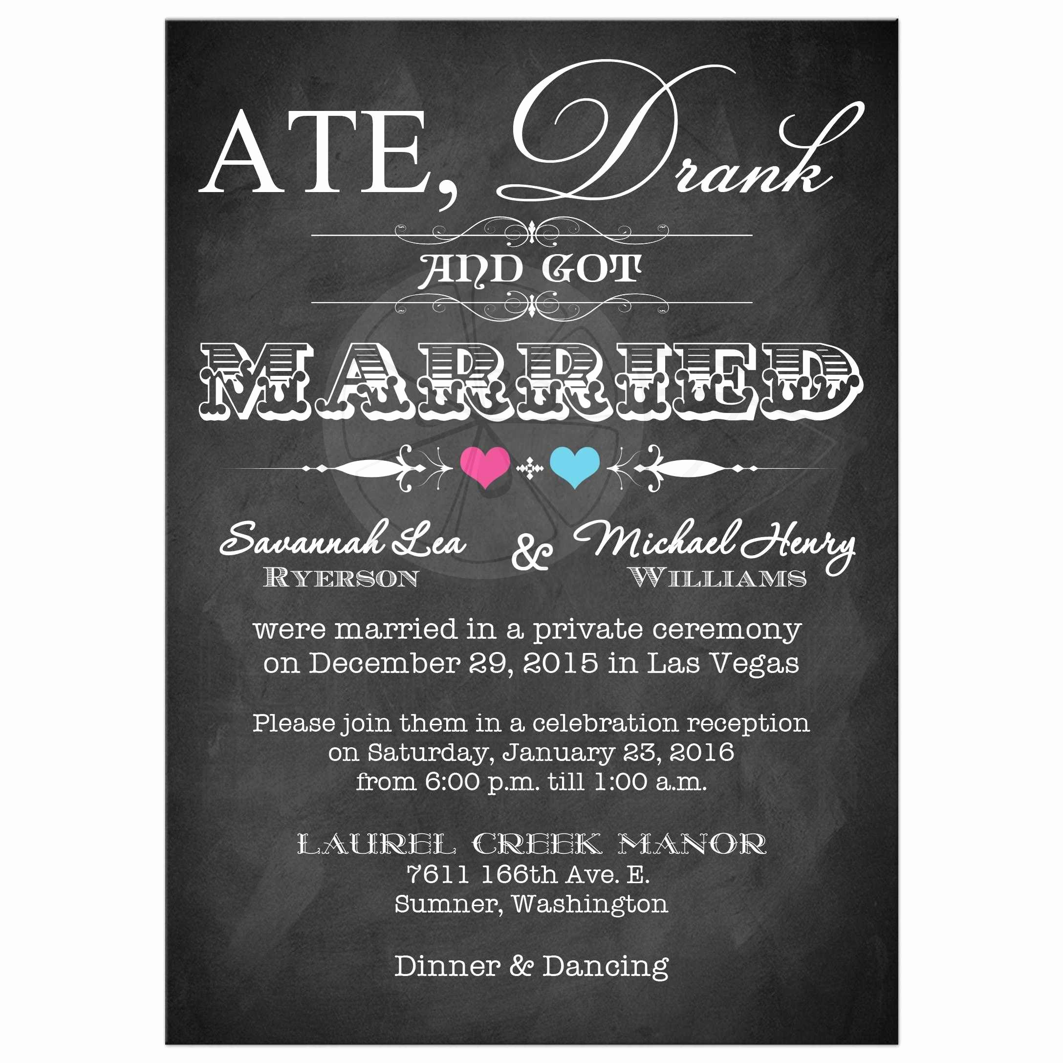 Wedding Reception Invitation Ideas Inspirational Post Wedding Invitation Chalkboard Scrolls
