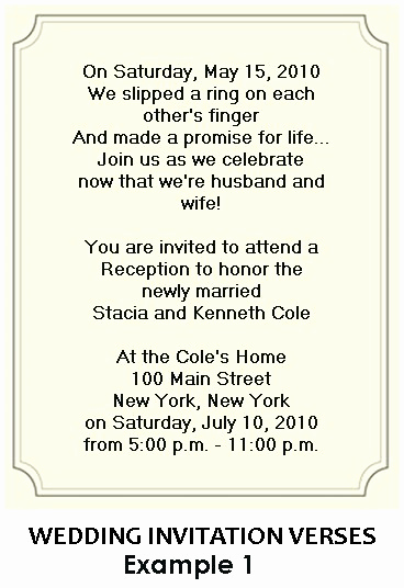 Wedding Reception Invitation Ideas Lovely Anna Marie S Blog the Charming Verse In Example One Let