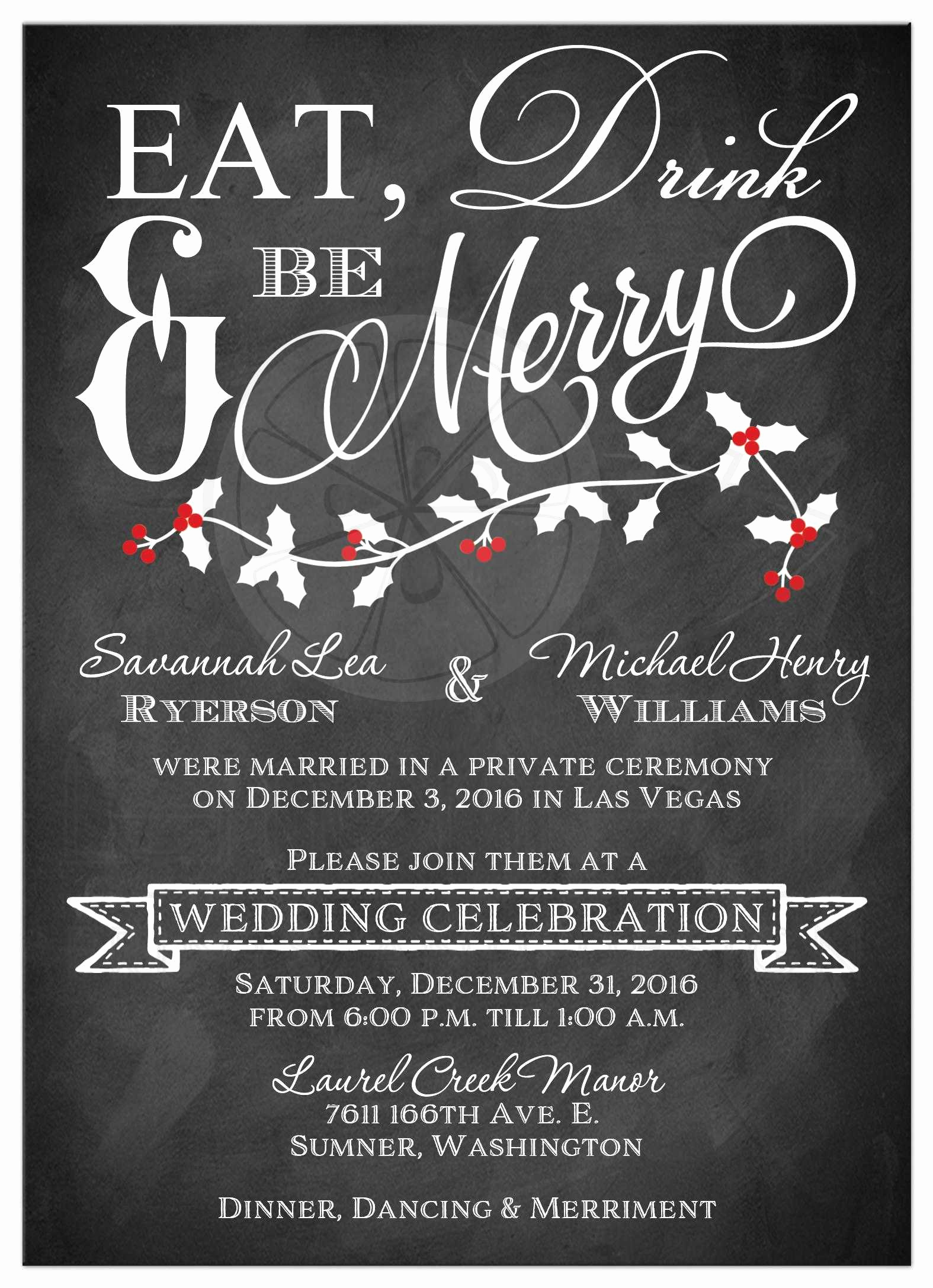winter wedding reception invitation eat drink and be merry faux chalkboard holly leaves and berries