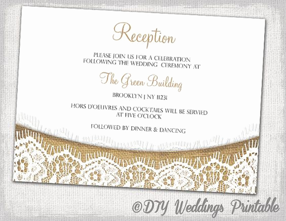 Wedding Reception Invitation Templates Beautiful Rustic Reception Invitation Template Diy