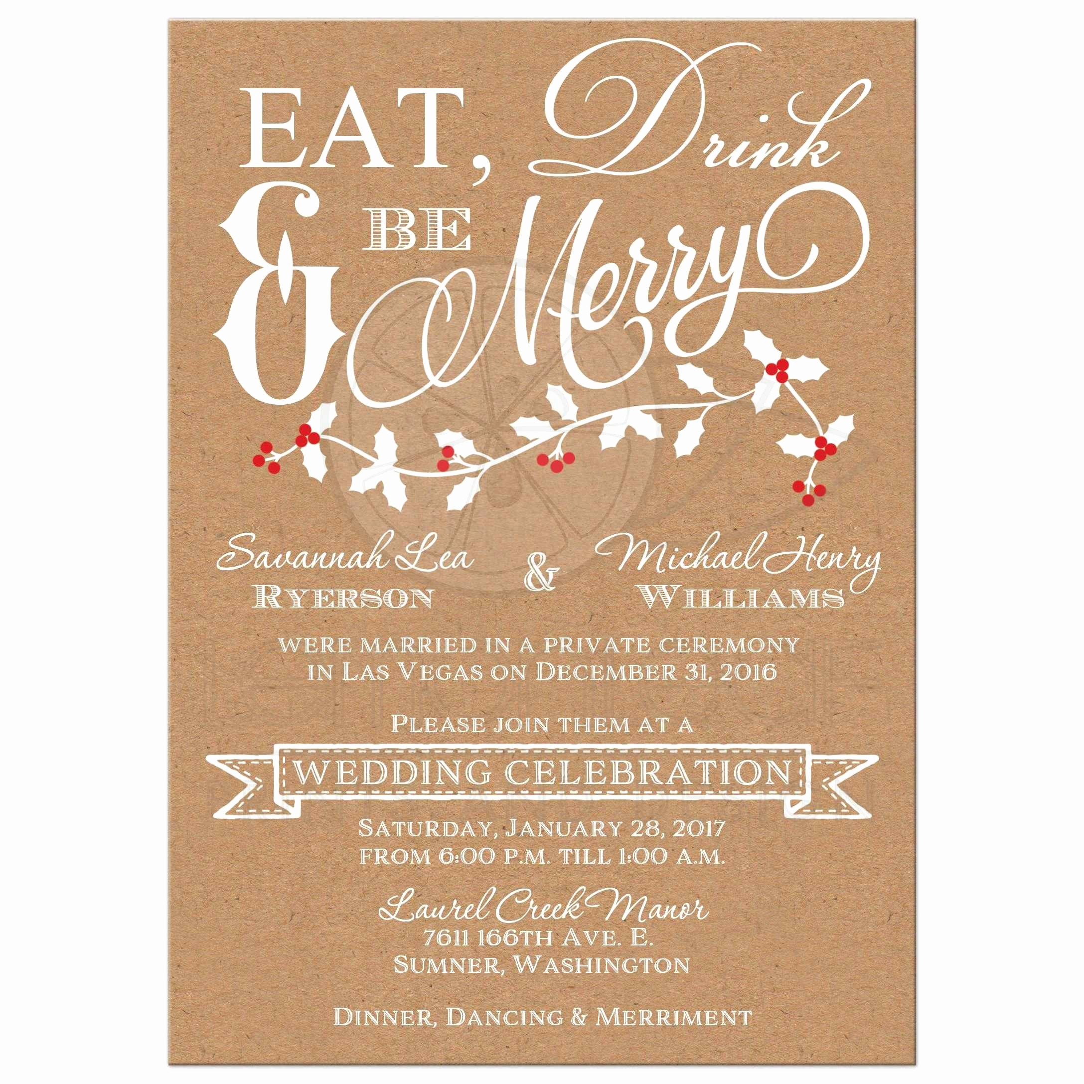 Wedding Reception Invitation Templates Beautiful Winter Wedding Reception Invitation
