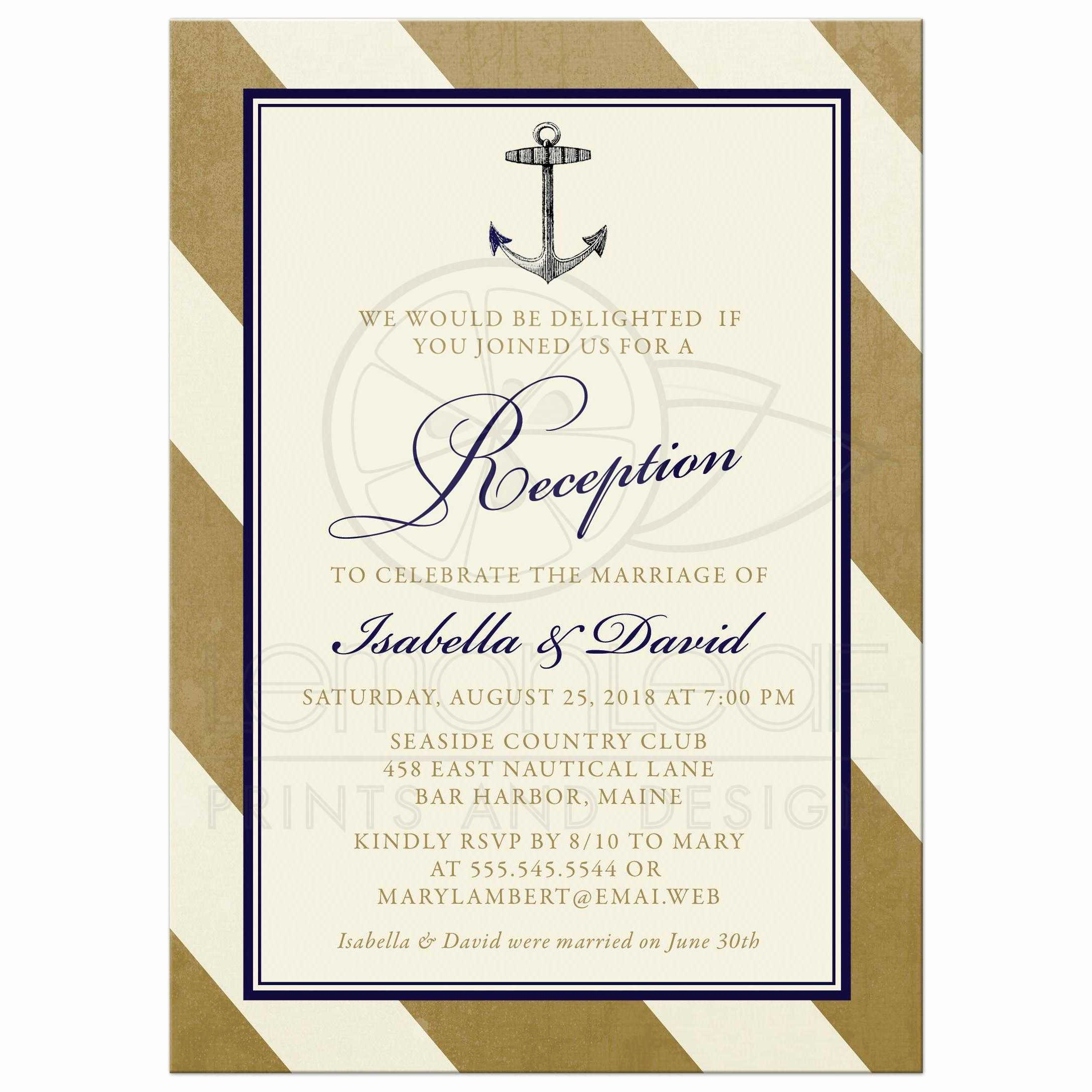 Wedding Reception Invitation Templates Best Of Post Wedding Reception Ly Invitations Elegant Nautical