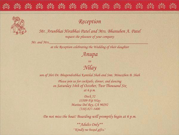 Wedding Reception Invitation Templates Inspirational Indian Wedding Invitation Wording Template
