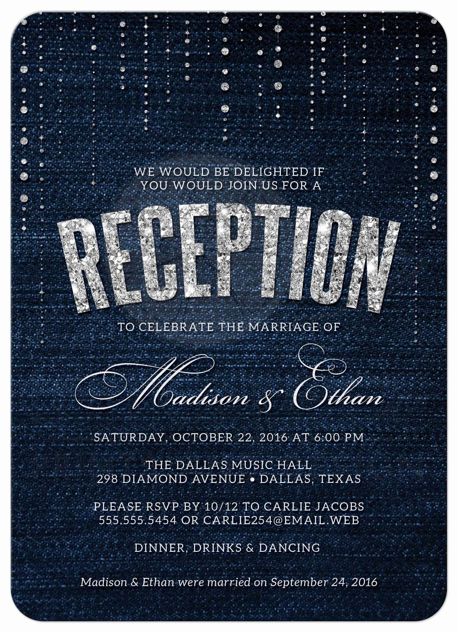 Wedding Reception Invitation Templates Inspirational Post Wedding Reception Ly Invitations Denim & Diamonds
