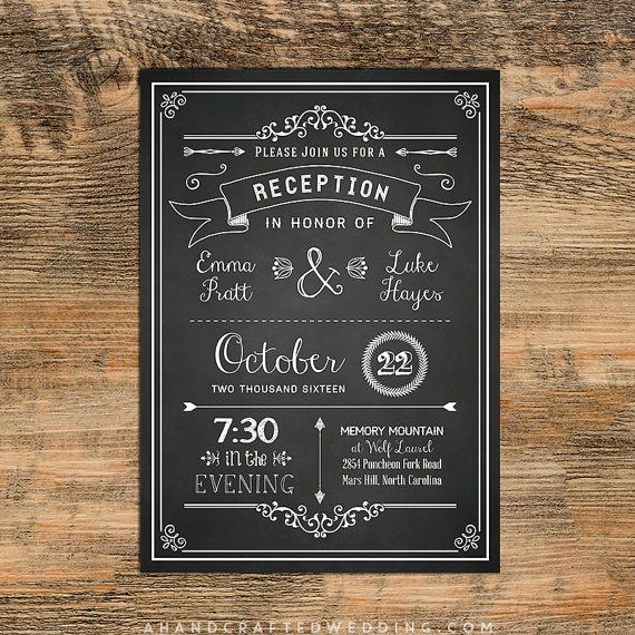 Wedding Reception Invitation Templates Luxury Chalkboard Diy Reception Ly Invitation Template