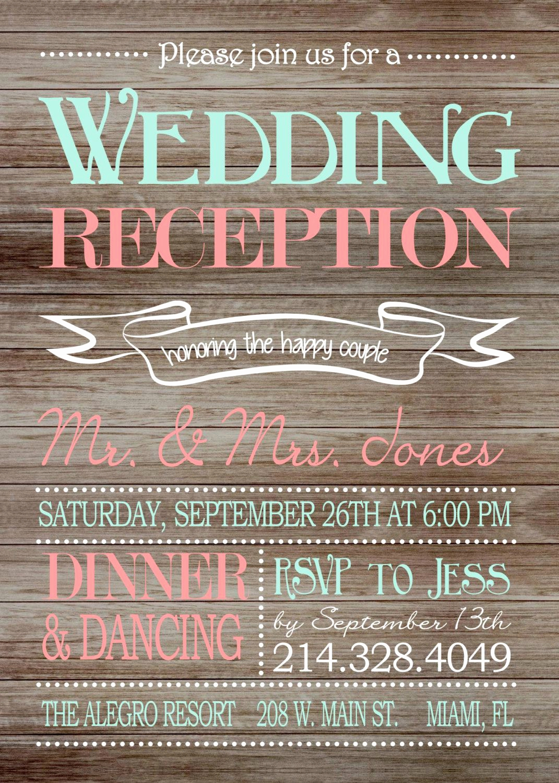 Wedding Reception Invitation Templates New Rustic Wedding Reception Ly Invitation On Wooden