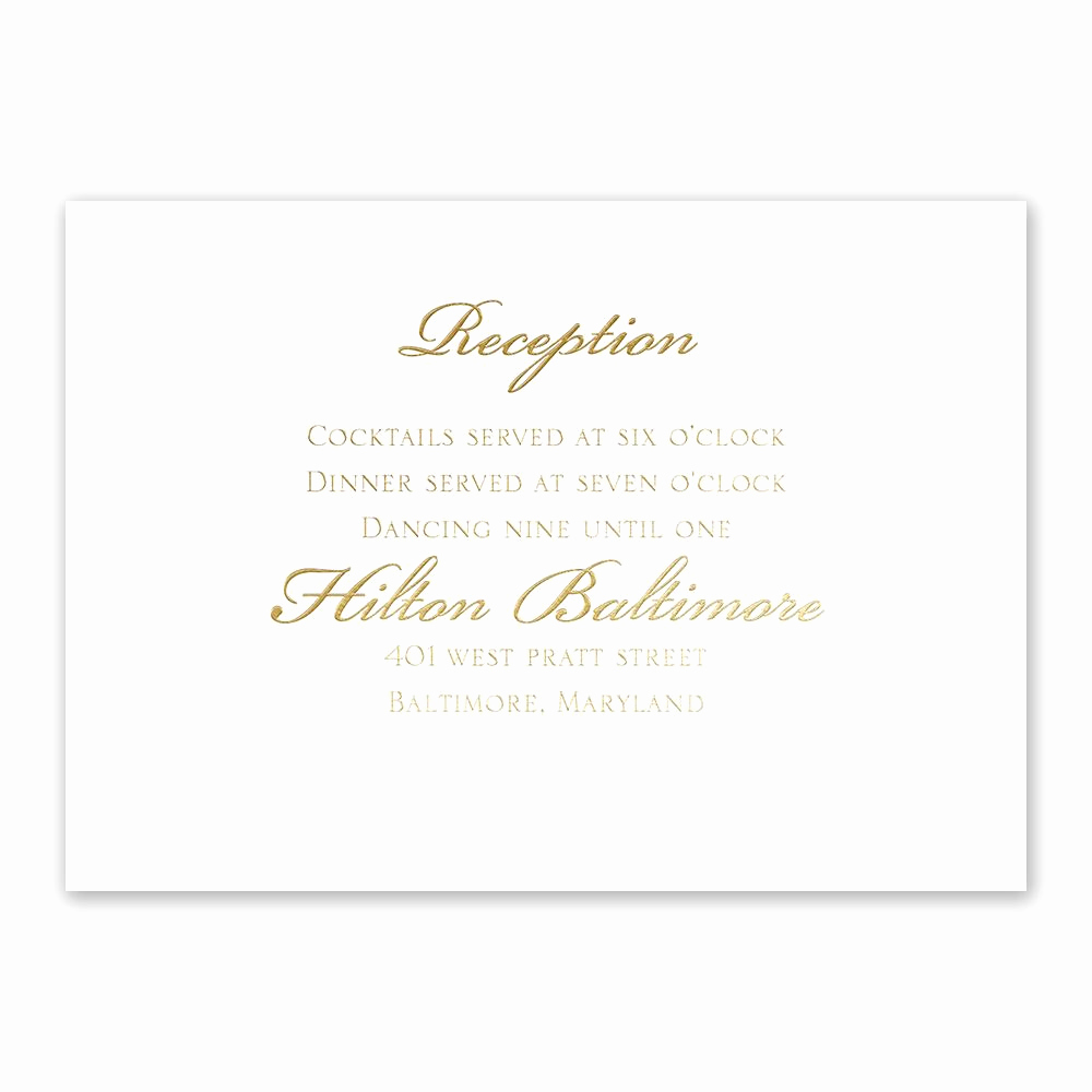 Wedding Reception Invitation Templates Unique Gilded Beauty Gold Foil Reception Card