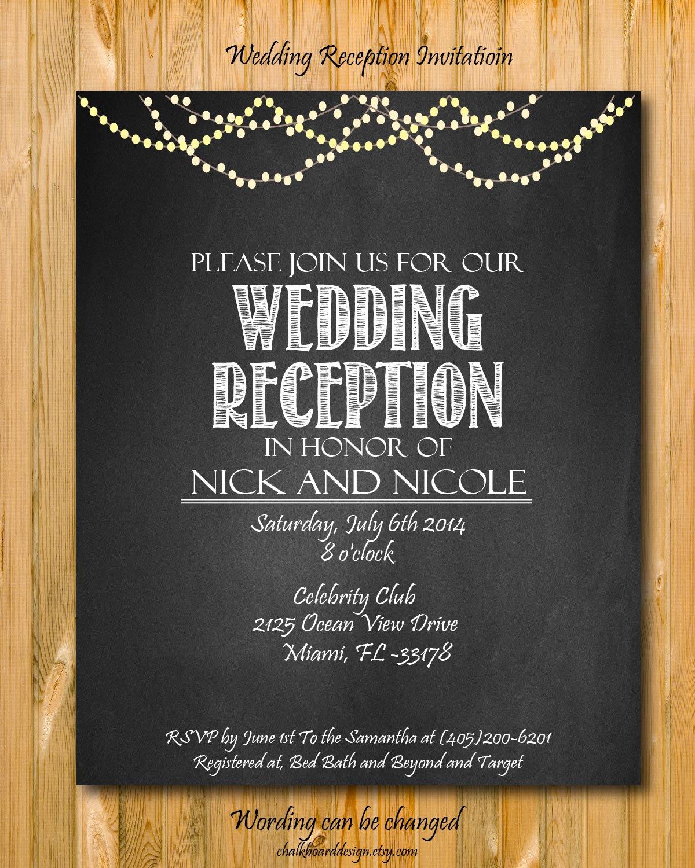 Wedding Reception Invitation Templates Unique Printable Wedding Reception Invitation Wedding by