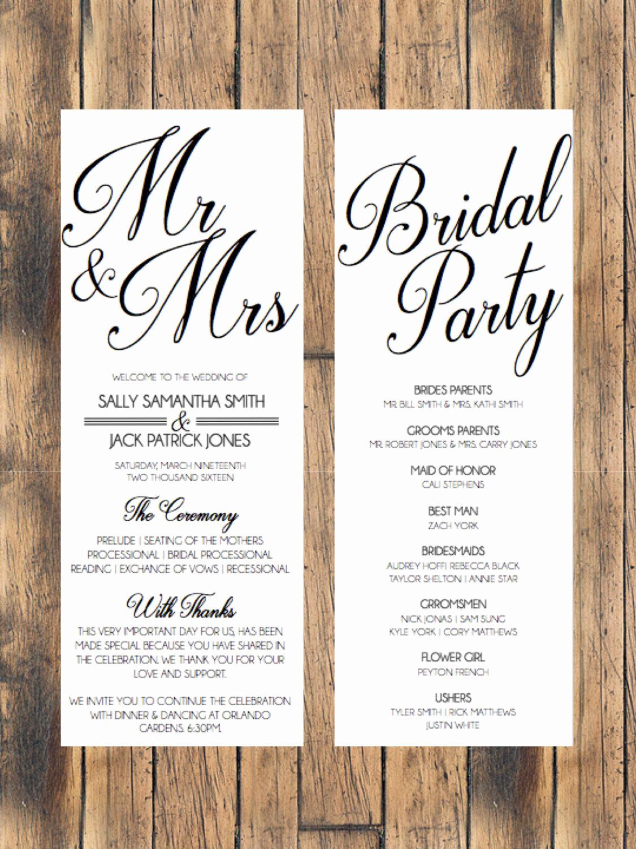 Wedding Reception Invitation Templates Unique Simple Wedding Program Wedding