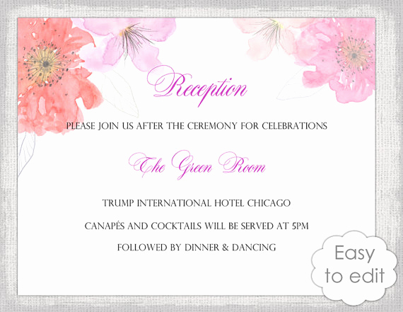 Wedding Reception Invitation Templates Unique Wedding Reception Invitation Template Diy Printable