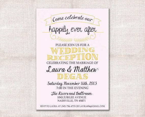 Wedding Reception Invitation Wording Awesome Wedding Reception Celebration after Party Invitation Custom