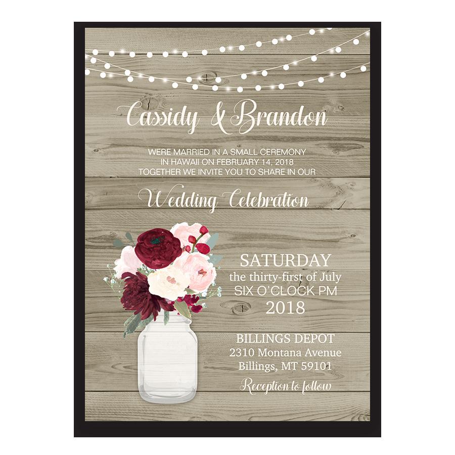 Wedding Reception Invitation Wording Luxury Rustic Wedding Reception Ly Invitation Mason Jar