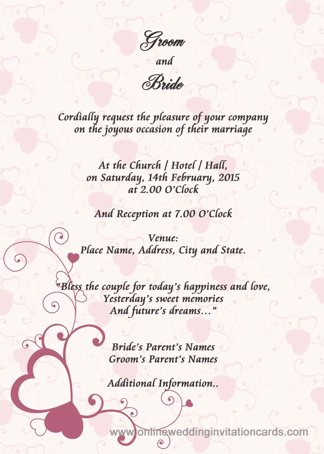 Wedding Reception Invitation Wording Samples New Sample Wedding Card Invitation