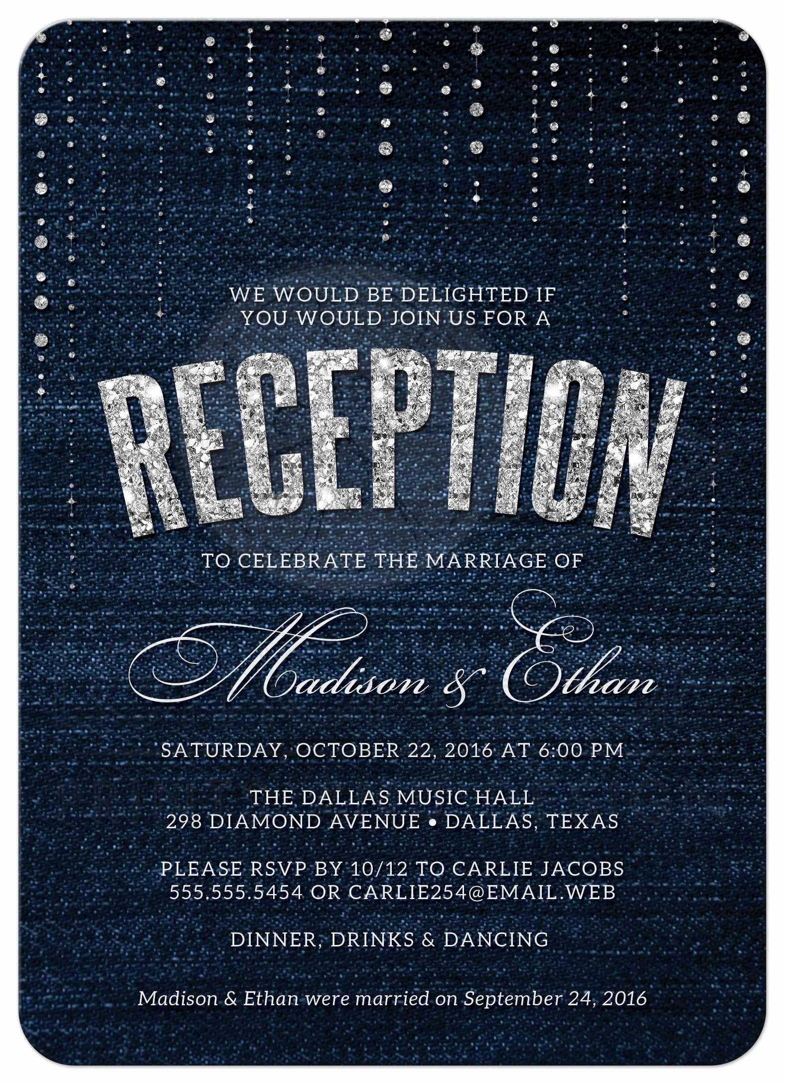 Wedding Reception Only Invitation Wording Elegant Post Wedding Reception Ly Invitations Denim & Diamonds