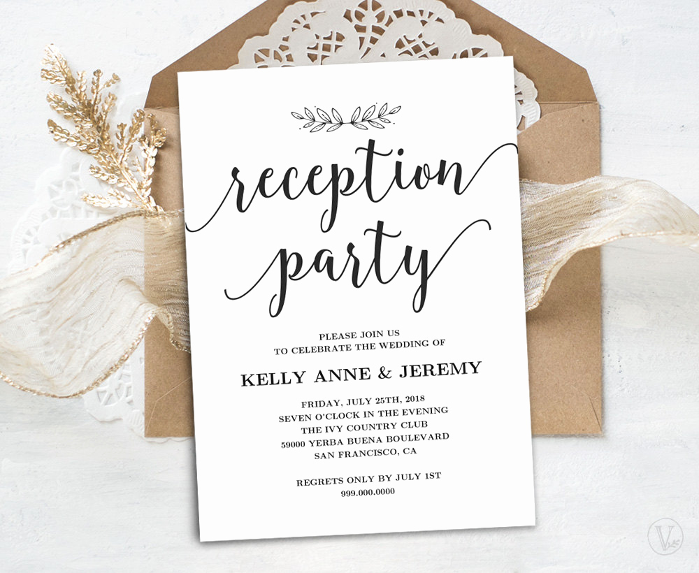 Wedding Reception Only Invitation Wording Inspirational Wedding Reception Invitation Printable Reception Party Card