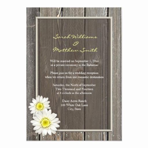 Wedding Reception Only Invitation Wording Lovely Reception Ly Rustic Daisy Wedding Invitations
