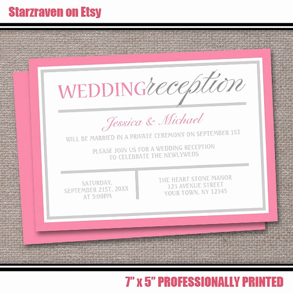 Wedding Reception Only Invitation Wording Luxury Pink Reception Ly Wedding Invitations Printed