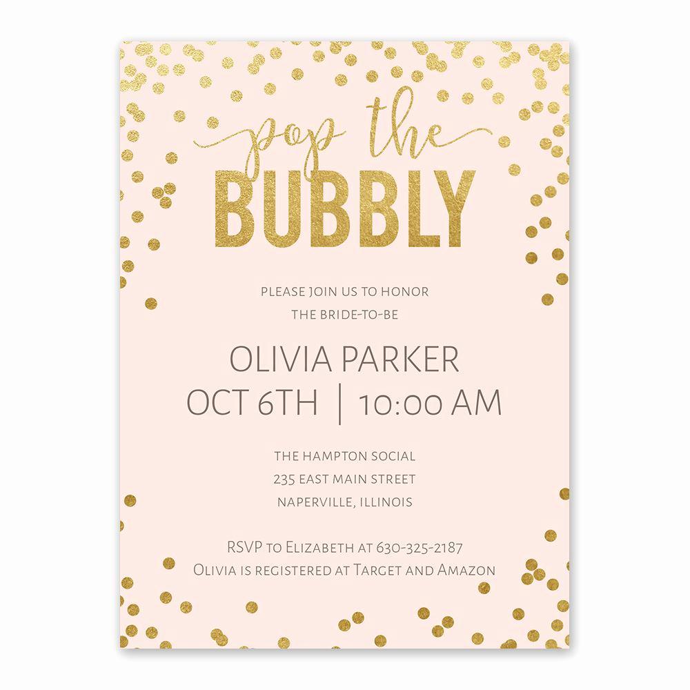 Wedding Shower Invitation Ideas Beautiful Bubbly Bridal Shower Invitation