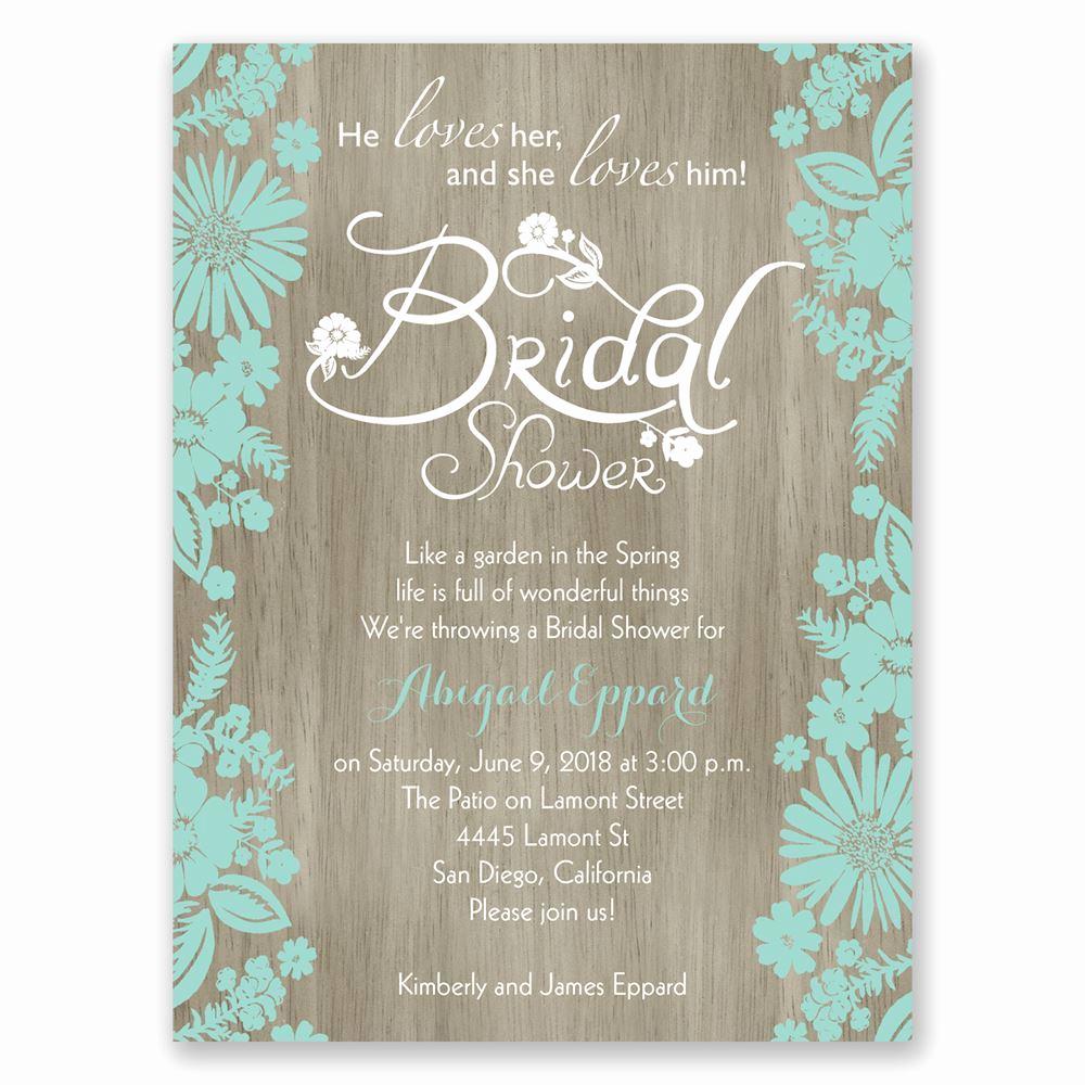Wedding Shower Invitation Ideas Fresh Flowers and Woodgrain Petite Bridal Shower Invitation