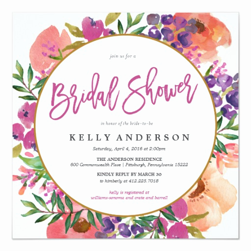 Wedding Shower Invitation Ideas Lovely Modern Watercolor Floral Bridal Shower Invitation
