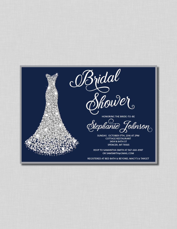 Wedding Shower Invitation Ideas Luxury Navy and Silver Bridal Shower Invitation Diamond Wedding Gown