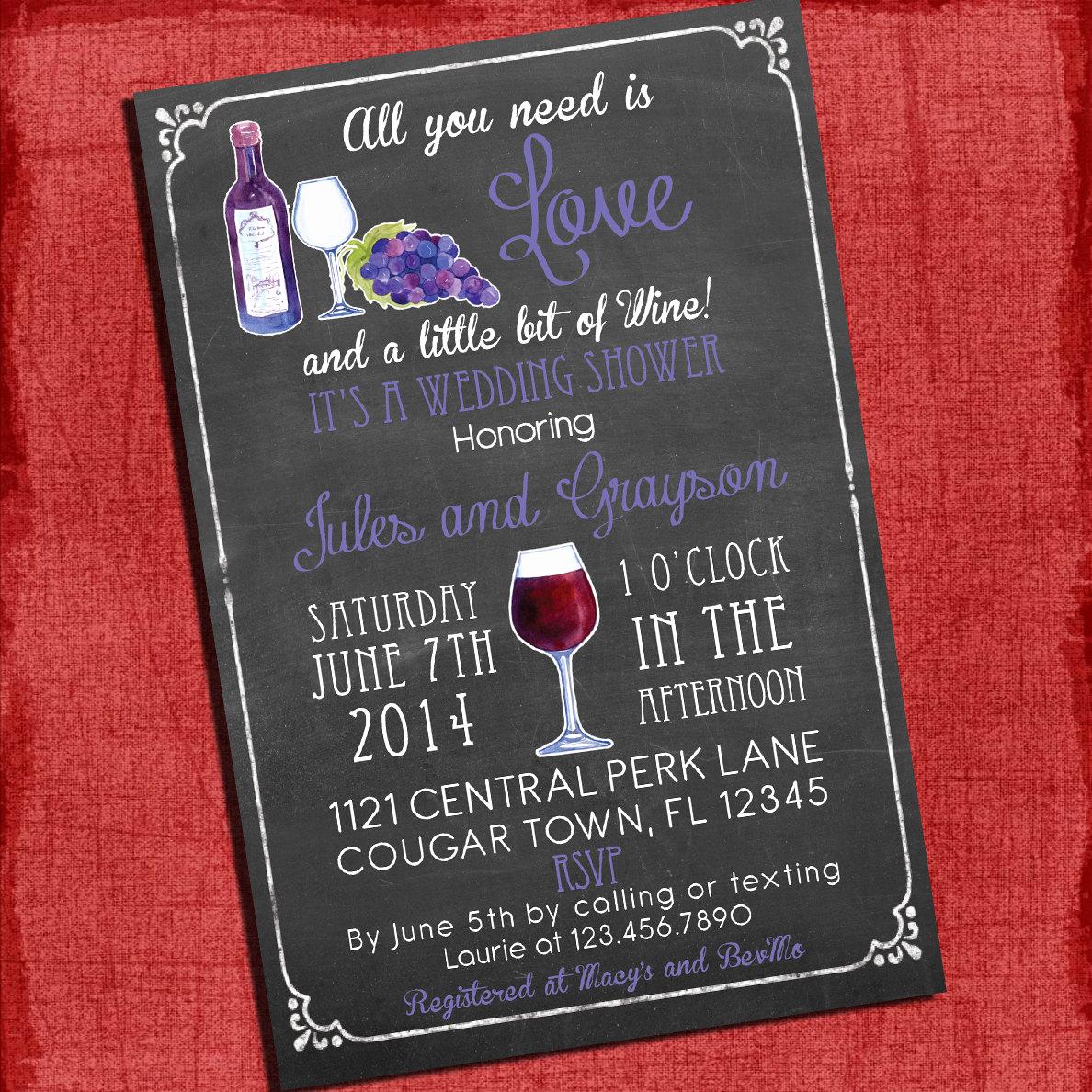 Wedding Shower Invitation Ideas New Printable Wine theme Couples Coed Wedding Shower Invitation I