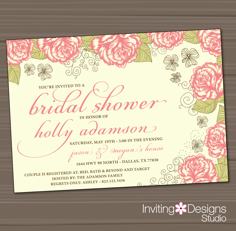 Wedding Shower Invitation Ideas Unique Bridal Shower Invitation Rose Garden Wedding Shower