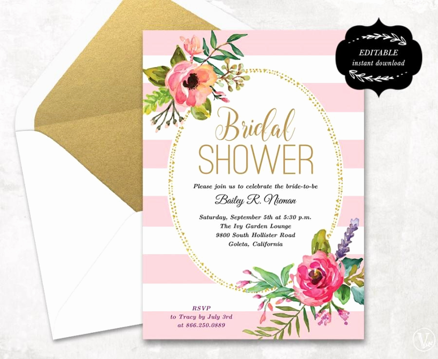Wedding Shower Invitation Template Elegant Blush Pink Floral Bridal Shower Invitation Template