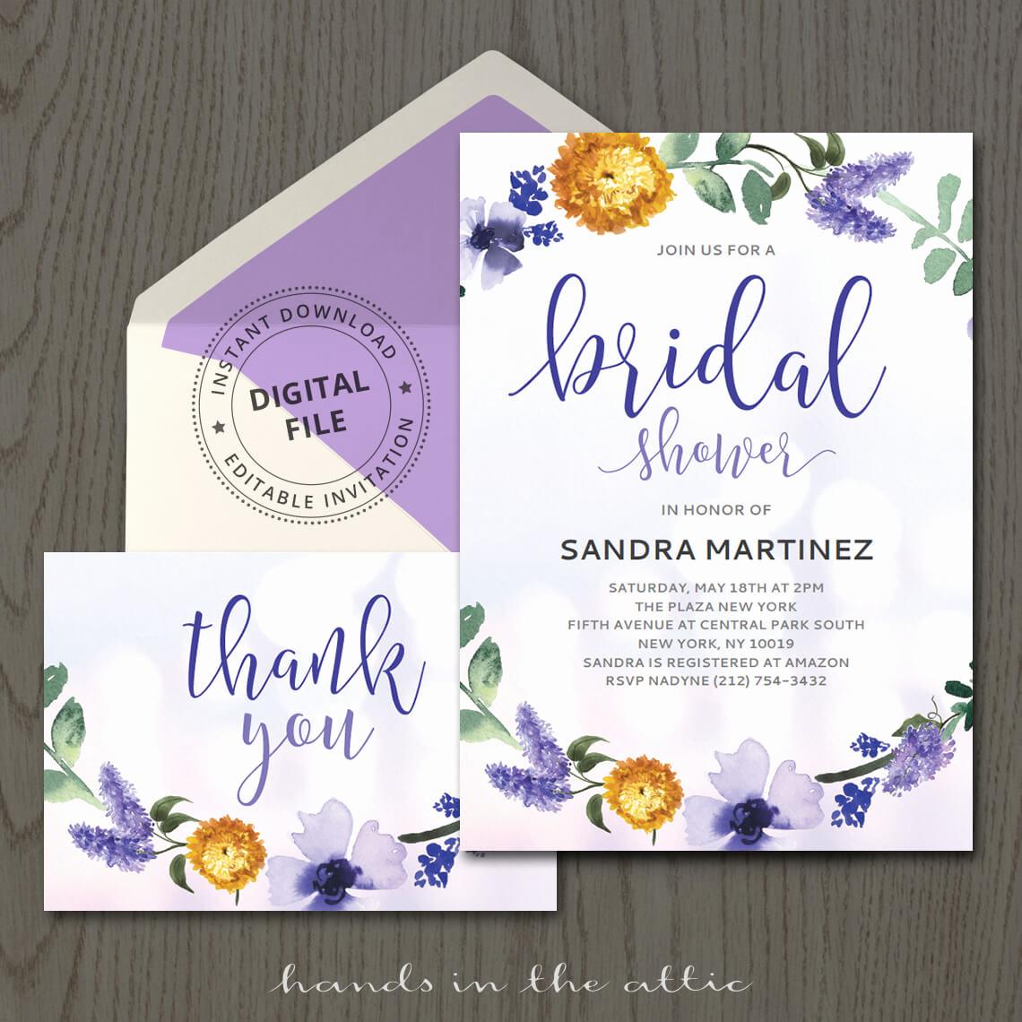 Wedding Shower Invitation Template Elegant Purple Bridal Shower Invitation Template