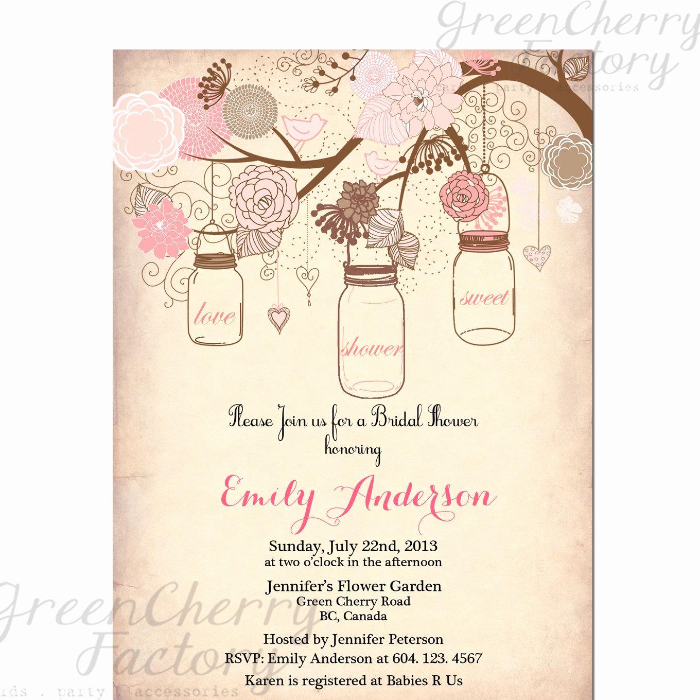 Wedding Shower Invitation Template Luxury Mason Jar Invitation Rustic Bridal Shower Invitation
