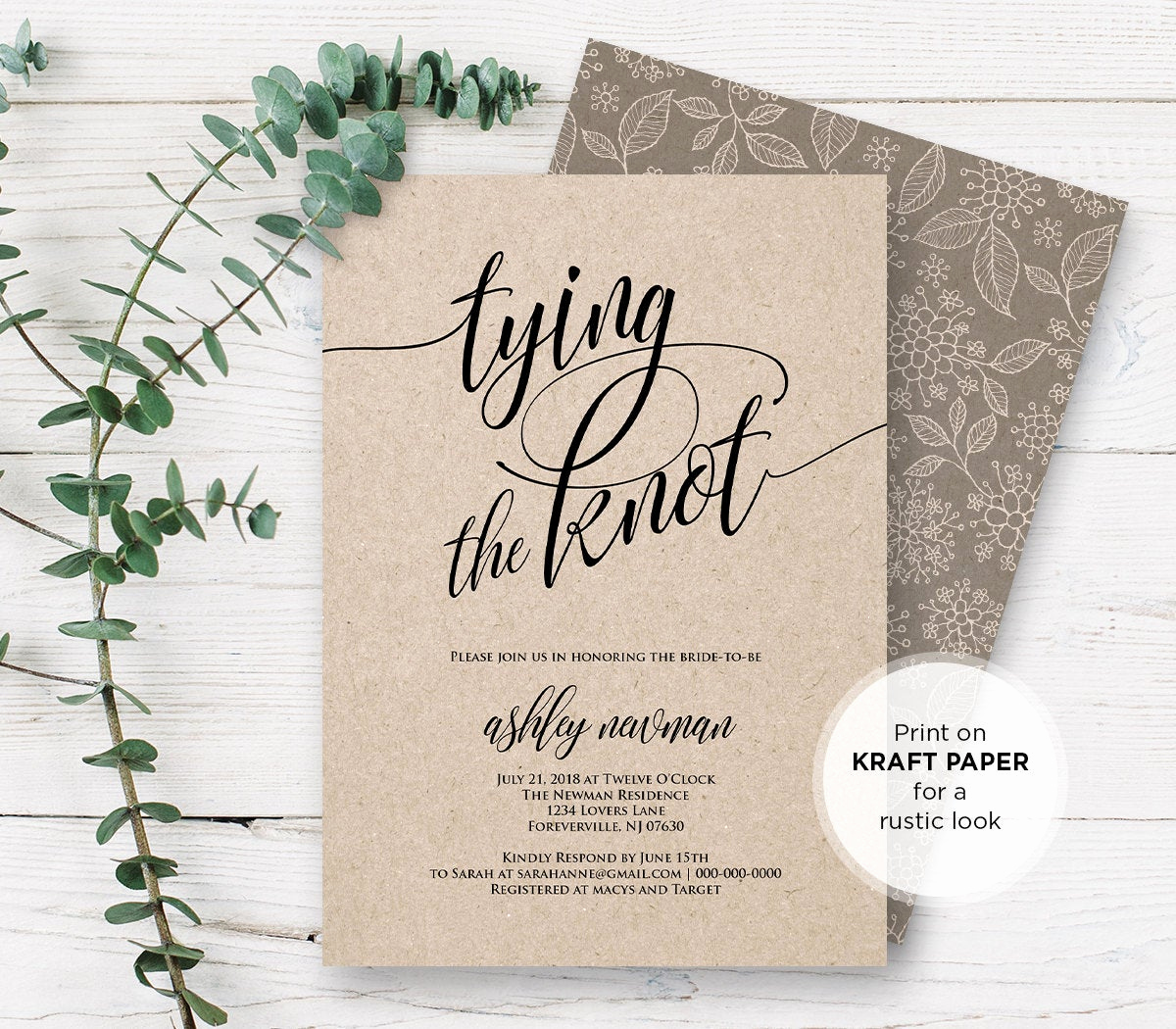 Wedding Shower Invitation Template New Rustic Bridal Shower Invitation Printable Tying the Knot