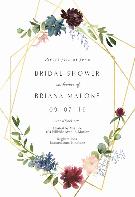 Wedding Shower Invitation Templates Awesome Geometric & Flowers Bridal Shower Invitation Template